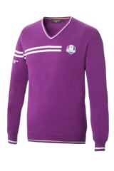 Glenmuir Ryder Cup 2014 Fanwear Braco 100% Supersoft Cotton V Neck Golf Sweater with Chest and Sleeve Stripe Detail
