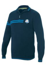 Glenmuir Ryder Cup 2014 Fanwear Faskally 100% Supersoft Cotton Zip Neck Sweater with Chest and Sleeve stripe Detail
