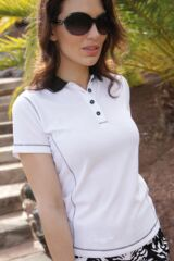Glenmuir Lexi Performance Golf Shirt with Contrast Collar and Converstitch Detail