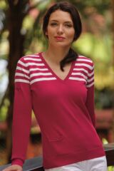 Glenmuir Olivia Stripe 100% Cotton V Neck Sweater with Pocket Detail