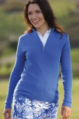 Glenmuir Paige 100% Supersoft Cotton Zip Neck Rib Sweater