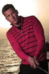 Glenmuir Paisley Striped 100% Supersoft Cotton Zip Neck Sweater