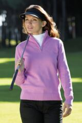 Glenmuir Paula Supersoft Cotton Ribbed Zip Neck Golf Sweater
