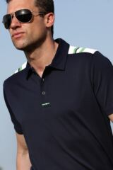 Glenmuir Westray Quick Dry UV Performance Golf Shirt with Stripe Shoulder Panels