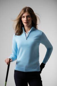 Ladies Zip Neck Cotton Golf Sweater