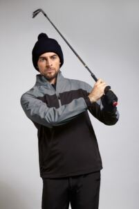 Mens Zip Neck Two Tone Water Repellent Performance Golf Windshirt - Sale