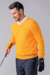 Mens V Neck Cotton Golf Sweater