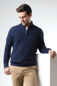 Mens Zip Neck Textured Suede Placket Cotton Golf Sweater