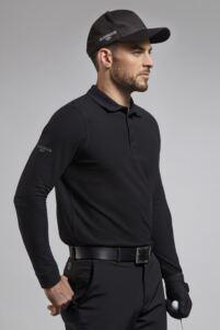 Mens Long Sleeve Cotton Pique Golf Polo Shirt