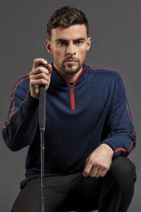 Mens Zip Neck Raglan Sleeve Water Repellent Merino Blend Lined Golf Sweater