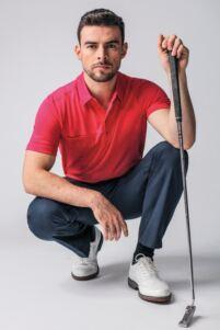 Mens Chest Pocket Performance Cotton Golf Polo Shirt