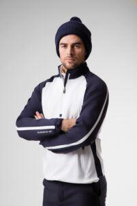 Mens Zip Neck Showerproof Stripe Panelled Performance Golf Windshirt