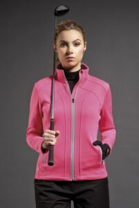 Ladies Zip Front Lightweight Water Repellent Fleece Golf Jacket