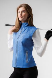 Ladies Zip Front Embossed Patterned Water Repellent Performance Golf Gilet