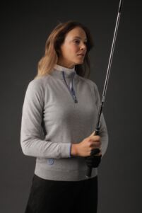 Ladies Zip Neck Lightweight Lined Cotton Golf Sweater