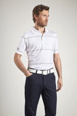 Glenmuir Mens Performance Pencil Stripe Golf Polo Shirt
