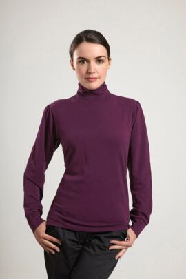 Glenmuir Ladies Long Sleeve Mock Button Neck Golf Shirt