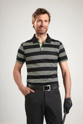 Glenmuir Mens Block Stripe Mercerised Golf Polo Shirt