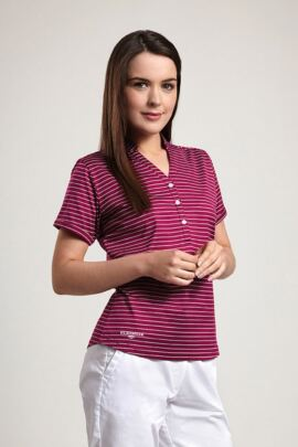 Glenmuir Ladies Nehru Collar Stripe Golf Polo Shirt