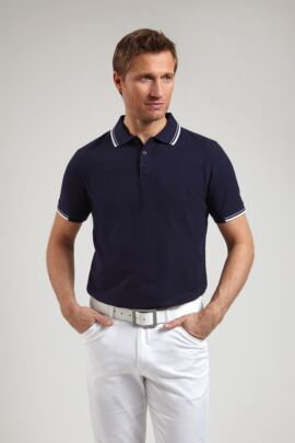 Glenmuir Mens Tailored Fit Tipped Cotton Polo Shirt