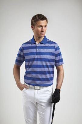 Glenmuir Mens Block Stripe Mercerised Golf Polo Shirt