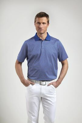 Glenmuir Mens Multi Stripe Mercerised Golf Polo Shirt