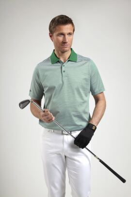 Glenmuir Mens Feeder Stripe Mercerised Golf Polo Shirt