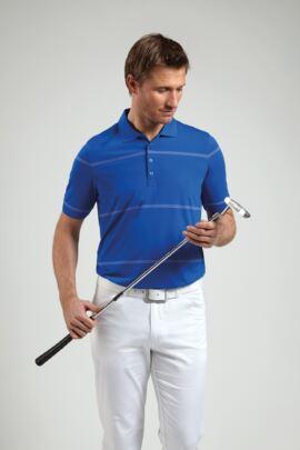 Glenmuir Mens Performance Pencil Stripe Golf Polo Shirt