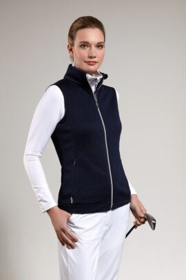 Ladies Embossed Diamond Zip Front Performance Mid Layer Gilet