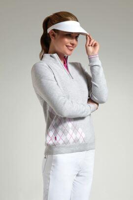 Glenmuir Ladies Zip Neck Offset Diamond Golf Sweater