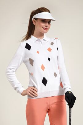 Glenmuir Ladies V Neck Random Diamond Intarsia Golf Sweater - Sale