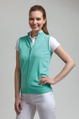 Glenmuir Ladies Contrast Outline Diamond Golf Gilet - Sale