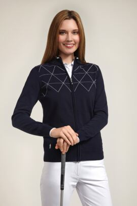 Glenmuir Ladies Contrast Outline Diamond Golf Cardigan - Sale