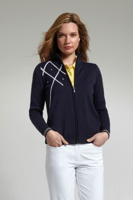 Glenmuir Ladies Cotton Diamond Intarsia Zip Front Cardigan - SALE