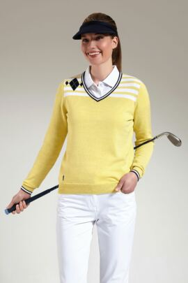 Glenmuir Ladies Cotton Stripe and Diamond Design V Neck Golf Sweater - SALE