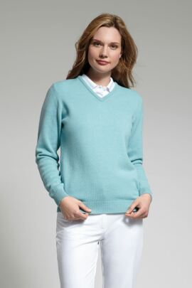 Glenmuir Ladies V Neck Lambswool Golf Sweater - Sale