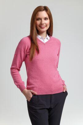 Ladies Lambswool Blend Raglan Sleeve V Neck Golf Sweater