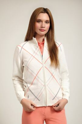 Glenmuir Ladies Lambswool Zip Front Diamond Intarsia Golf Cardigan - Sale