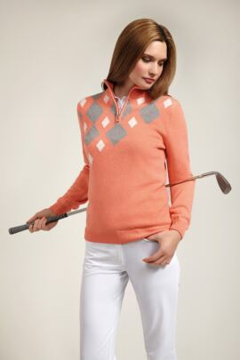 Glenmuir Ladies Lambswool Zip Neck Diamond Intarsia Golf Sweater - Sale