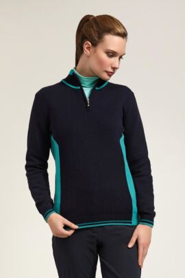 Glenmuir Ladies Zip Neck Colour Block Golf Tipped Sweater - Sale