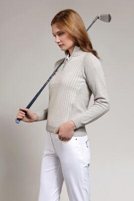 Ladies Dogtooth Front Zip Neck Golf Sweater