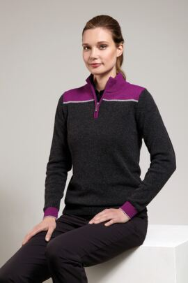Ladies Colour Block Zip Neck Golf Sweater - SALE