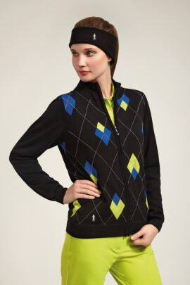 Glenmuir Ladies Cotton Zip Front Intarsia Lined Sweater - Sale
