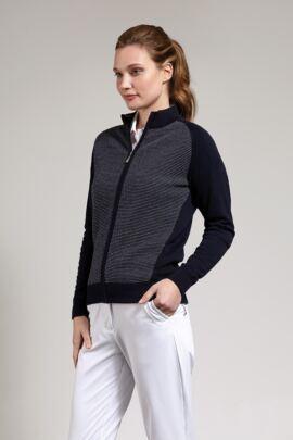 Ladies Cotton Birdseye Lined Zip Front Cardigan
