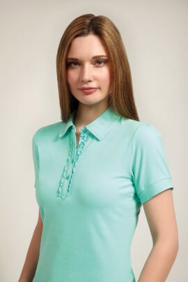 Glenmuir Ladies Print and Frill Cotton Golf Polo Shirt - Sale
