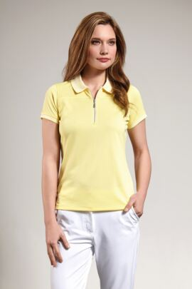 Glenmuir Ladies Performance Pique Zip Neck Polo