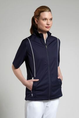 Glenmuir Ladies Zip Front Half Sleeve Piping Detail Wind Jacket