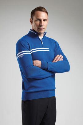 Glenmuir Mens Zip Neck Double Chest Stripe Golf Sweater