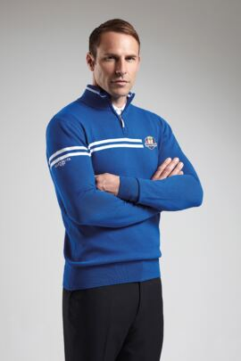 Official Ryder Cup 2016 Mens Zip Neck Double Chest Stripe Golf Cotton Sweater