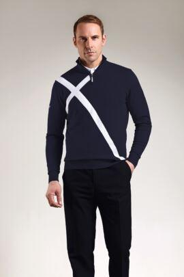 Mens Saltire Cross Zip Neck Golf Sweater